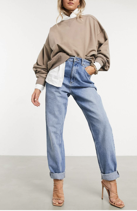 ASOS DESIGN High Rise 'Slouchy' Mom Jeans in Midwash